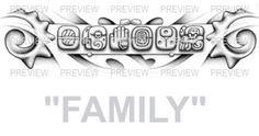 FAMILY Mayan Glyphs Tattoo Design D » ₪ AZTEC TATTOOS ₪ Aztec Mayan Inca Tattoo Designs Instant Download
