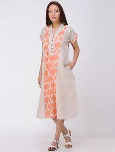 Beige-Orange Ikat Linen Dress with Pocket