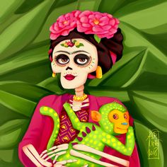 Frida Kahlo and her Alebrije monkey from Coco