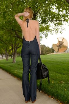 Denim Halter Jumpsuit