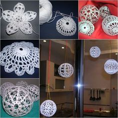 DIY Crochet Ball Ornaments --- they look so pretty hanging on the window.  Check out--> http://wonderfuldiy.com/wonderful-diy-crochet-ball-ornaments/