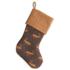 Find it at the Foundary - 16 in. Blue Reindeer Burlap Stocking
