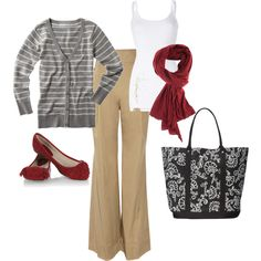 So simple and so cute; red business casual, created by jhynes on Polyvore