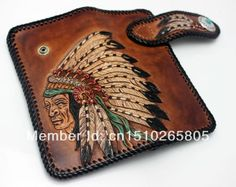 Indian Chief Tattoo Tribal Handmade Vintage Carved Tooled Leather Biker Wallet $189.90