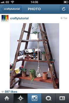 before & after: flower shop renovation – Design*Sponge Old Wooden Ladders, Diy Regal, Home And Deco, Ladder Decor, Ladder Shelves, Diy Shelving, Rustic Shelving, Easy Shelves, Ladder Storage