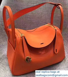 5b14d758b7ef Hermes Lindy 26 30 Bag In Original Swift Leather Gold Sliver Hardware Orange  Hermes