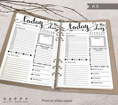 Printable Daily Planner A5 Daily Planner by HappyDigitalDownload