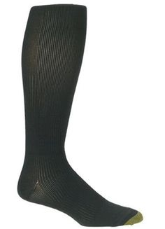 Gold Toe Men's Support Over the Calf Dress Sock Gold Toe. $11.95. Medium fits shoe size 7.5-10. Large fits shoe size 10.5-12; Reinforced heel and toe, over the calf length, firm compression; 90% nylon, 10% lycra spandex; Graduated knit for support; Machine wash warm, tumble dry low