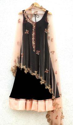 Black Anarkali Suit with cape style Dupatta by Designer Anisha Shetty Cotton Dress Indian, Dress Indian Style, Indian Dresses, Indian Wear, Indian Outfits, Indian Attire, Anarkali Dress, Anarkali Suits, Black Anarkali
