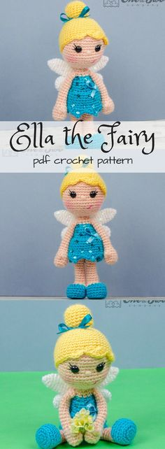 Crochet fairy doll pattern. PDF Amigurumi toy crochet pattern. Looks like Tinkerbell! #etdy #ad