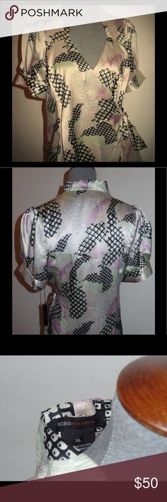 BCBG Max Azria Wrap Tie Blouse Silky graphic print BCBG wrap blouse. New with tags. BCBGMaxAzria Tops Blouses