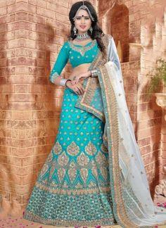 Sky Blue Off White Embroidery Work Silk Net Designer Fancy Wedding Lehenga Choli http://www.angelnx.com/Lehenga-Choli/Wedding-Lehenga-Choli