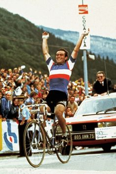 1980 World Road Race Championship in Sallanches Bernard Hinault celebrates as he crosses the line to win the race