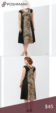 Leopard print inset dress Figure hugging ponte knit dress that makes a bold entrance. Faux leather panels gives it that sexy edge. Hidden side zipper. 67% rayon/28% nylon/5% spandex Lane Bryant Dresses