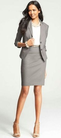 Women's Business Fashion Trend - Select a Light Grey Two Piece Suit Get inspired at http://ilovefreshfashion.blogspot.fi/2014/04/50-amazing-womens-business-fashion.html