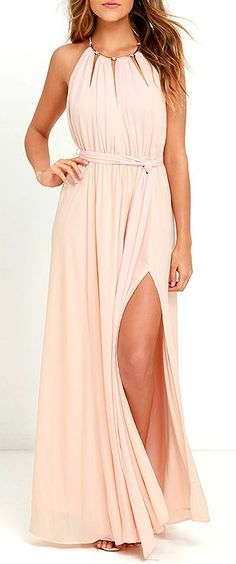 Your presence will be known the second you walk by in the Gleam and Glide Blush Pink Maxi Dress! Lovely woven poly swings from a drawstring halter neckline (with gold accents), into a cutout bodice with plunging V-neck. Elasticized waist with tying sash belt tops the maxi skirt with side slit. #lovelulus