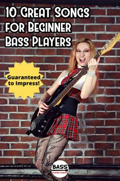 10 easy to learn songs great for beginner bass players. All with video tutorial lessons, bass tabs, and play along song tracks. Bass Guitar Scales, Learn Guitar Chords, Guitar Chords Beginner, Easy Guitar Songs, Bass Guitar Lessons, Bass Guitars, Guitar Tabs, Learn Guitar Beginner, Guitar Lessons For Beginners