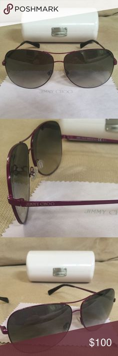 Authentic Jimmy Choo Aviators Authentic Jimmy Choo aviators. Purple frame. Lens is a smokey black almost mirror like. Very small scratches on lenses (does not affect vision) but good used condition! Super light weight! Comes with case and cloth. Jimmy Choo Accessories Sunglasses