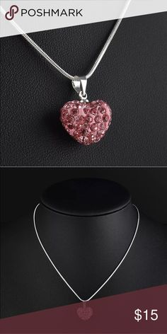 💖Pink Crystal Heart Pendant Necklace💖 Pink Crystal Pendant. 925 Silver necklace. Jewelry Necklaces
