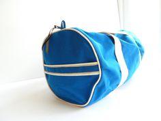 Vintage Duffle Bag, Gym bag, Bright blue, 1970s duffle bag, 70s gym bag. $30.00, via Etsy.