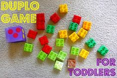 """Lego game-roll dice, stack that many legos.  Whoever has the tallest tower at end of game """"wins"""" (or just count and see how many at end of game)"""