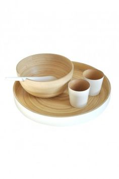 I Like it Here Boutique | For Home | Tableware | DISCO Stackable round bamboo tray - glossy white from Ekobo