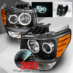 07-UP Dodge Nitro CCFL Halo Projector Headlights, with Xenon HID Lighting System - Pair (Black)