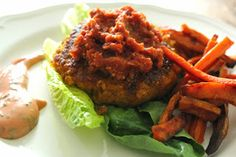 Curry Chickpea Burgers with Sun Dried Tomato Chutney. Yam and Carrot fries too !! http://www.underthepinfluence.com/blog/2014/6/16/curry-chickpea-burgers-with-sun-dried-tomato-chutney-yam-and-carrot-fries