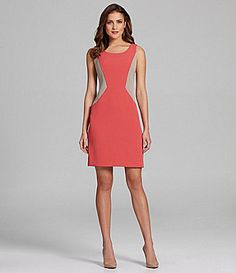 Leslie Fay Sleeveless Colorblock Crepe Dress #Dillards