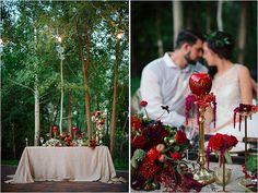 apple themed sweetheart table