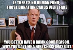 Kruger confronts George about the fake donation cards to the Human Fund