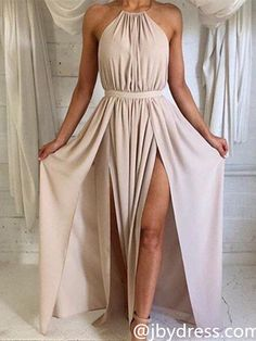 Custom Made A Line High Neck Long Prom Dress, Long Formal Dress, Bridesmaid Dress