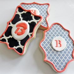 Fancy Shaped Monogram cookies- 1 dozen. $38.00, via Etsy.