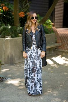 Leather Jacket And Printed Maxi Dress 2017 Street Style