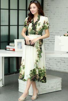 ericdress vestido de época bohemia maxi impresión verde Estilo máximo