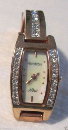 Women's Wrist Watch Armitron NOW Mother of Pearl Crystal Faced with NEW Battery #Armitron #Fashion