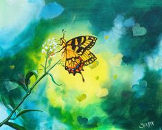 Bokeh Butterfly acrylic painting canvas tutorial on youtube in realtime by the Art sherpa https://www.youtube.com/watch?v=gK_dqBWT1ic