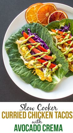 Slow Cooker Curried Chicken Tacos with Avocado Crema | healthynibblesandbits.com #glutenfree #lowcarb #lowfat