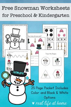 Free snowman worksheets printable packet for preschool and kindergarten students, featuring early math, writing, and language arts skills. Printable Preschool Worksheets, Free Preschool, Preschool Themes, Preschool Lessons, Preschool Kindergarten, Worksheets For Kids, Math Worksheets, Kindergarten Readiness, Preschool Winter