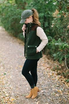 VEST Vineyard Vines Quilted Vest | BUTTON DOWN Pink Gingham Button Down | SWEATER Cable Quarter Zip Sweater | HAT Vineyard Vines Baseball Hat | BOOTS Tan Suede Booties (old Tory Burch, similar linked)