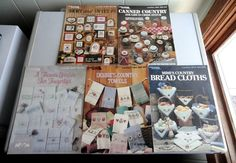 Lot of 5 Cross Stitch Leaflets: Bread Cloths, Towels, Jar Lid, Sayings Designs #LeisureArts