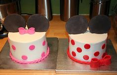 Matching Twin Cakes - Mickey Minnie Themed