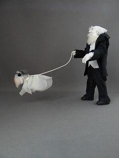 Ghoul Butler walking ghost Dog  Haunted Dollhouse miniature OOAK Pat Benedict