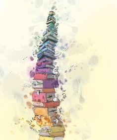 Arriba, arriba, arriba de una gran montaña de libros (ilustración de Lisa Aisato)