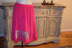 Victorias Secret Skirt  Size M/L Beach Coverup BLINGLOVE PINK Terry Sequin Bath #VictoriasSecret #CoverUp
