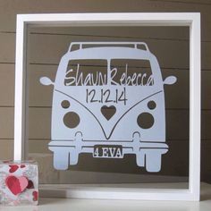 This is a gorgeous larger size papercut of a classic campervan/kombi van, for that couple that loves the beach and carefree lifestyle!  This would be an ideal gift for any happy couple to celebrate a wedding, anniversary or just for yourself remembering happy memories together.  This cut can be personalised with the names of the couple along with any important date you wish, or without the date. See the photographs for their position.   The number plate can also be personalized with a short…