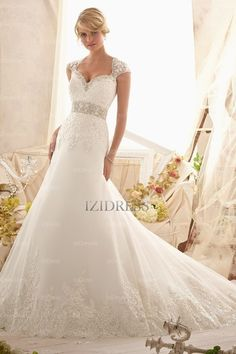 Trumpet/Mermaid Sweetheart Strapless Court Train Tulle wedding dress - IZIDRESSES.com at IZIDRESSES.com