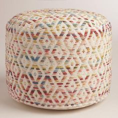 Our exclusive floor pouf features a thick multicolor diamond weave and plush filling. This comfy cushion is ideal for distinguishing small spaces or adding an extra seat for guests without taking up too much floor space.
