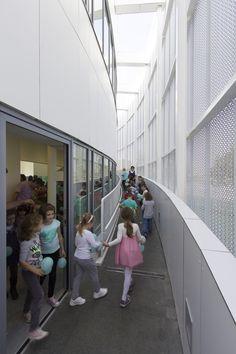 "Image 4 of 18 from gallery of Kindergarten ""Tesla - Science for life"" / DVA STUDIO. Photograph by Relja Ivanić Nursery School, School Building, Built Environment, The Past, Studio, Gallery, Buildings, Kindergartens, Public"