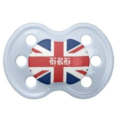 'HRH' His Royal Highness British Flag Baby Pacifier in Blue